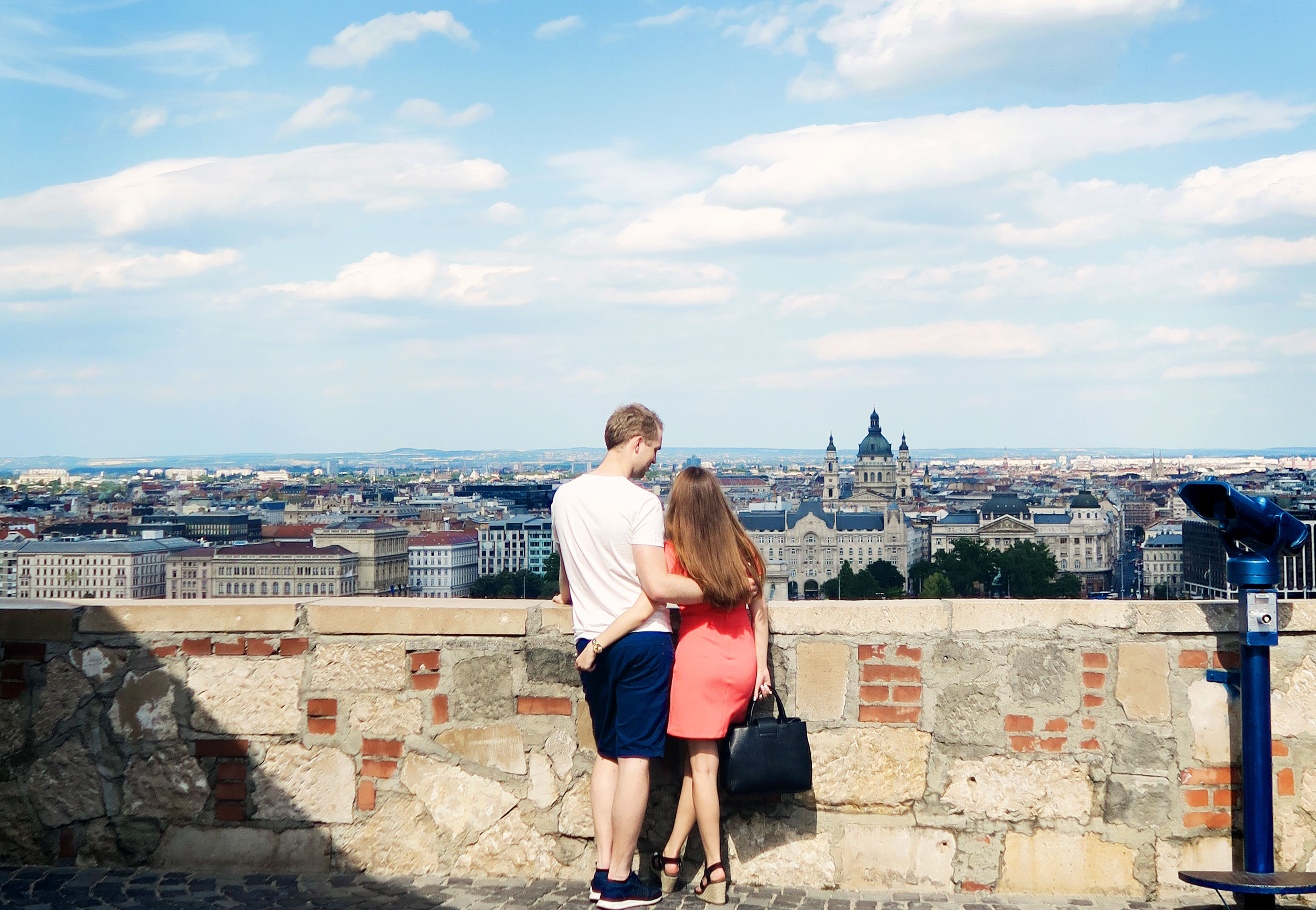 Young couple in love. Budapest backdrop