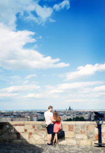 Cute young couple in Budapest. Couple in love