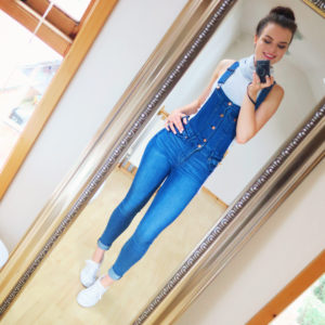 Teen faded dungaree outfit