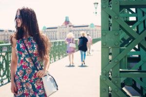 Travel blogger. Freedom Bridge. Budapest