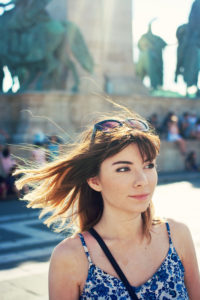 Teen with windblown hair. Budapest