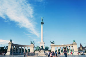 Heroes Square on sunny day in Budapest. Blue skies.