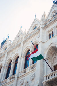 Hungarian flag outside building in Budapest.