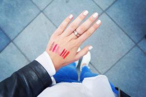 MAC lipstick swatches on hand