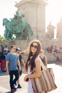 Teen girl at Heroes Square, Budapest, Hungary