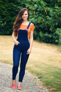 Denim and orange teen outfit