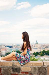 Travel blogger. Buda Castle. Budapest
