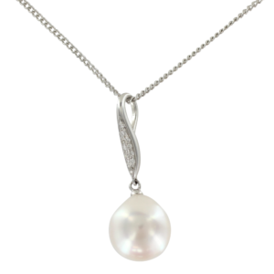 Pearl and diamond pendant necklace
