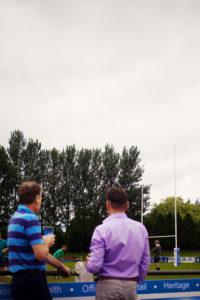 Spectators at rugby. Preston. England.