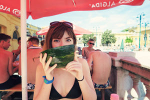 Eating watermelon in Budapest