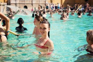 Teen girl bathing at Szechenyi baths, Budapest, Hungary