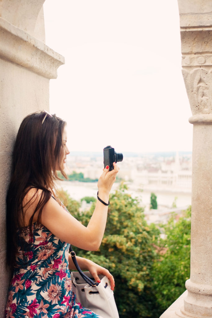 Travel blogger at Fisherman's Bastion, Budapest.