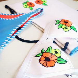 Triangle Dree bikini. White bikini top. Blue whip stitch bikini bottoms. Cheeky bum