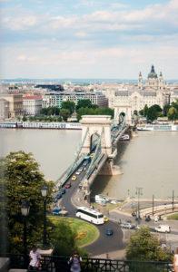 Szechenyi Chain Bridge, Budapest. Taken from funicular.