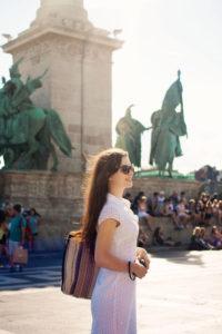 Teen girl wearing white dress in Budapest, Hungary