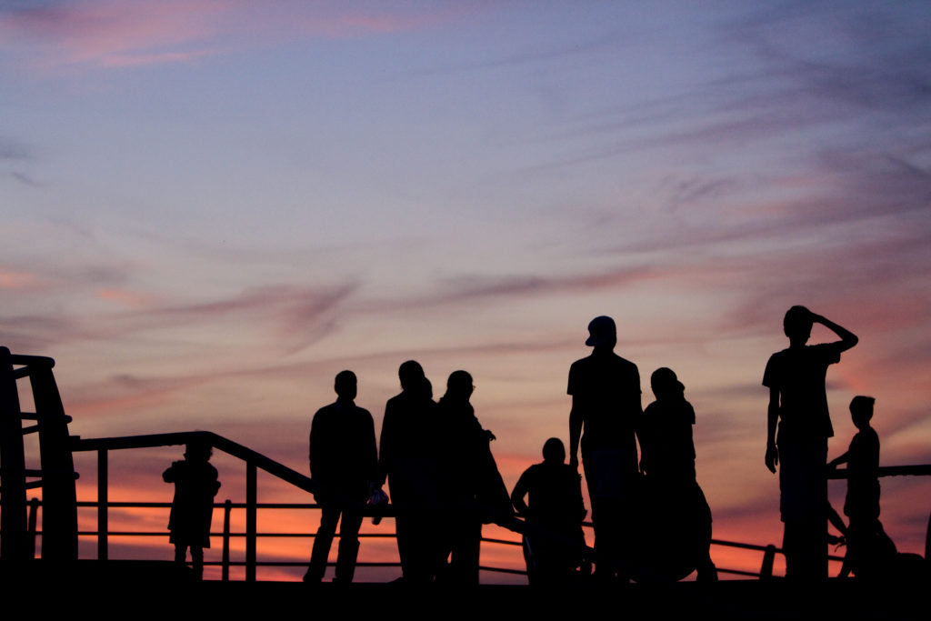 group-silhouette-blackpool-sunset