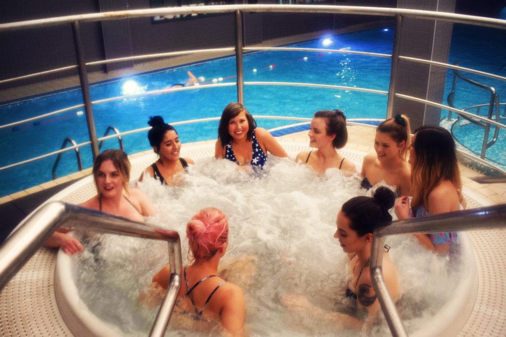 Group of girls in jacuzzi