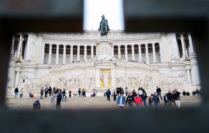 Looking through railings at Altere Della Patria, Rome, Italy.