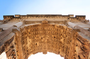 Underneath view of Arch of Titus Rome Italy