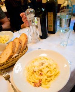 Bowl of Carbonara pasta in Rome restaurant Italy