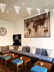 Comfy cafe seating at coffee shop Preston Lancashire