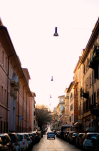 Early morning narrow street in Rome Italy. Sunrise