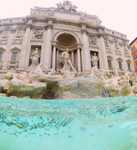 Trevi fountain Rome Italy Blue water