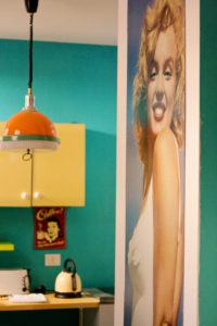 Large portrait of Marilyn Monroe. Retrome Hotel. Rome Italy.