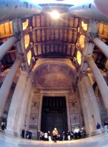 Evening sun at Panteon Rome Italy. Tall Roman columns.