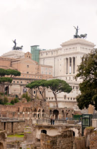 Staues on roofs in Rome Italy.