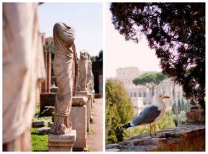 Statues at Roman Forum Gardens Rome