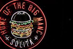 Neon sign with burger. Solita restaurant Preston