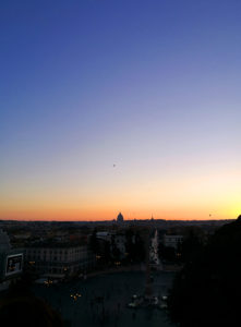 Dome against sunset sky in Rome Italy