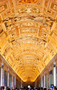 Gold painted ceiling Vatican Museum Rome Italy