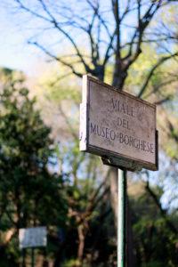 Gardens at Villa Borghese Rome Italy Signpost
