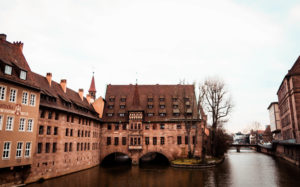 Houses built on river in Nuremberg