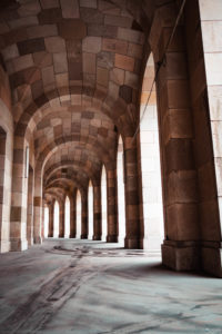 Stone archways in Nuremberg Germany