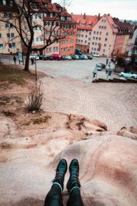 View down hilly street in Nuremberg