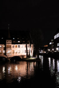 View of river at night in Nuremberg