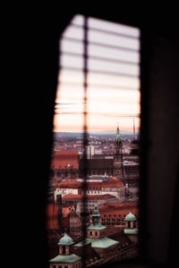 View of Nuremberg skyline through window