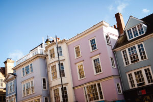 Pastel coloured buildings in Oxford