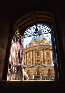 Looking through arch towards Radcliffe Camera Oxford