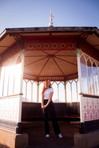Girl stood inside bandstand in Lytham St Annes