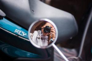 Taking selfie in bike mirror