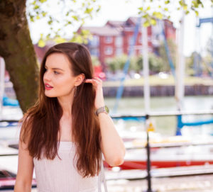 Young brunette woman at Preston marina
