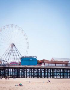 Ferris wheel on Central Pier Blackpool beach