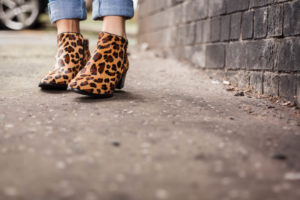 Blue jeans and leopard print ankle boots
