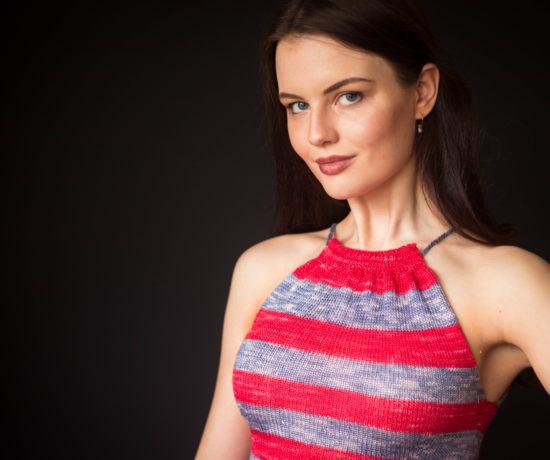 Stripey silk handknit top